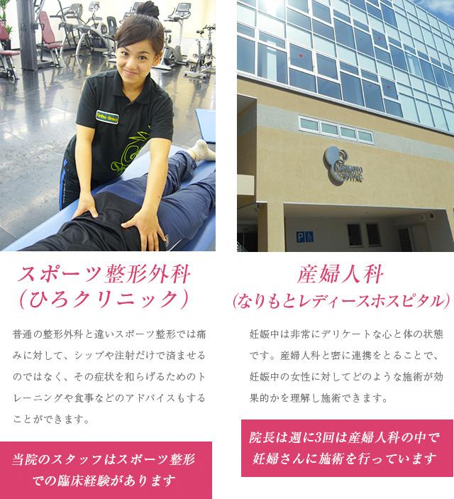 スポーツ整形外科(ひろクリニック)と産婦人科(なりもとレディースホスピタル)の紹介